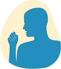 Zīmējumā parādīts vīrietis, kurš klepo dūrē, jo viņa elpceļos ir kairinātāji