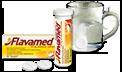 Tablete šķīst ūdens glāzē, attēlojot Flavamed® 60 mg putojošo tablešu devas