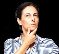 Sieviete tur zodu un skatās uz augšu, domājot par bieži uzdotiem jautājumiem par Flavamed®