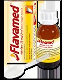 Флакон с Flavamed® 15 мг/5 мл сиропом для лечения влажного кашля, коробочка и мерная ложка